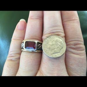 David Yurman silver and gold ruby ring